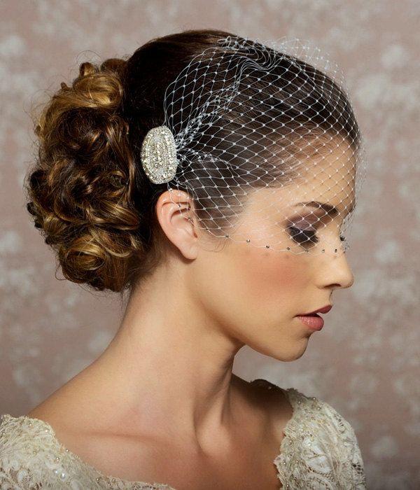 Wedding Veil With Rhinestone Edge Bandeau Birdcage Crystal