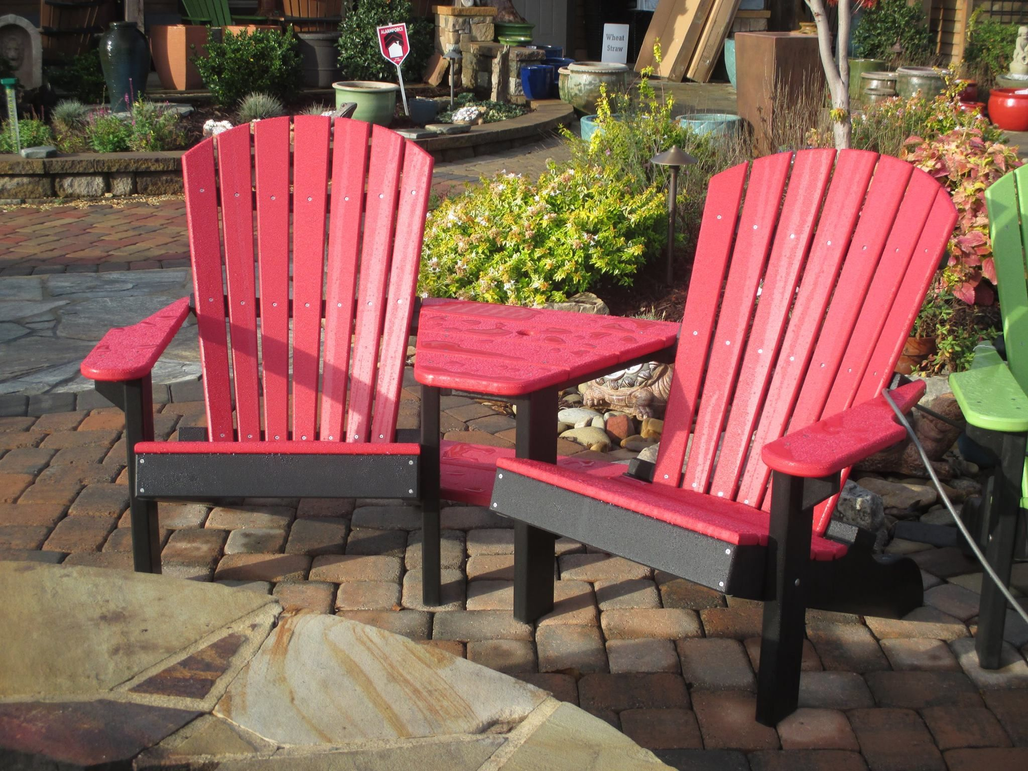 Red Trimmed In Black Adirondack Chair Set With Table That Includes Umbrella  Hole