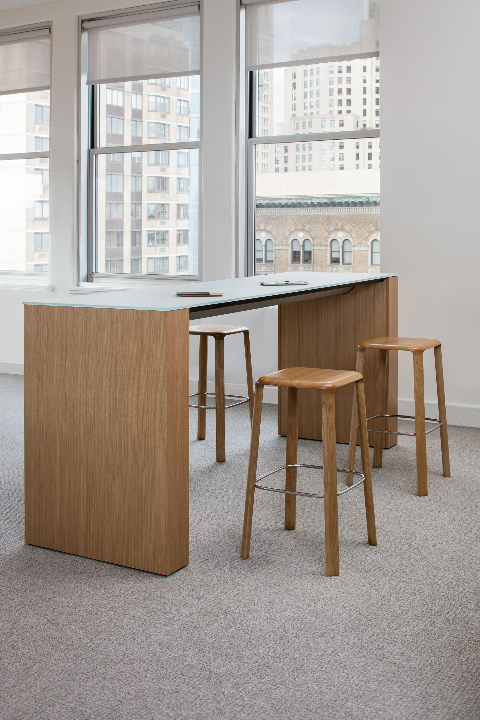 Briefing Bar height table with all wood rift oak Trillia stools