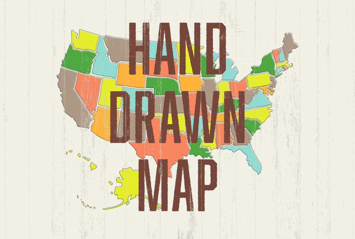 Hand Drawn US Map   Hand drawn, Toolbox and Adobe illustrator