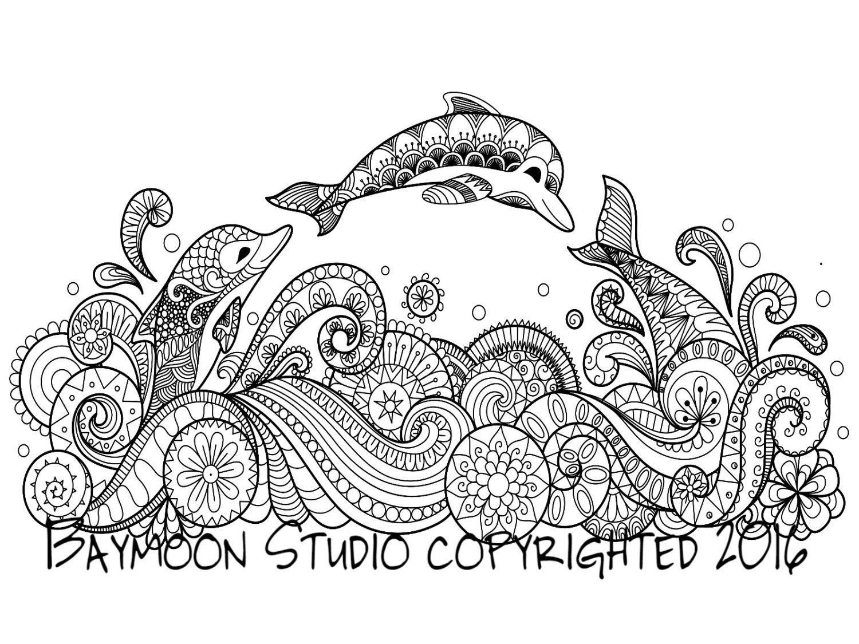 Delfines saltando para colorear página página por BAYMOONSTUDIO ...