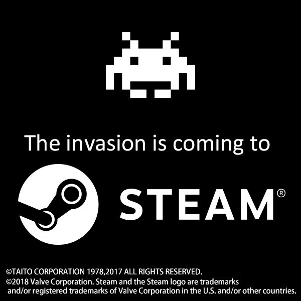 the invasion is coming to steam ロゴデザイン 図案 スペースインベーダー