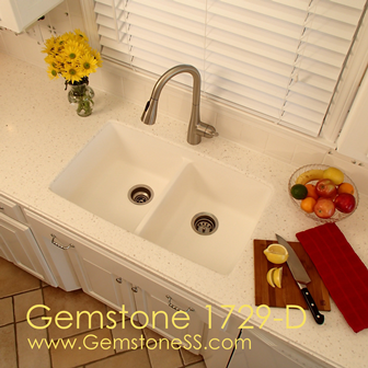 Gemstone 1729-D Solid Surface integral double bowl kitchen sink ...