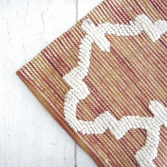 Wool Throw Rug Vintage 1960s Woven Boho Moroccan Style