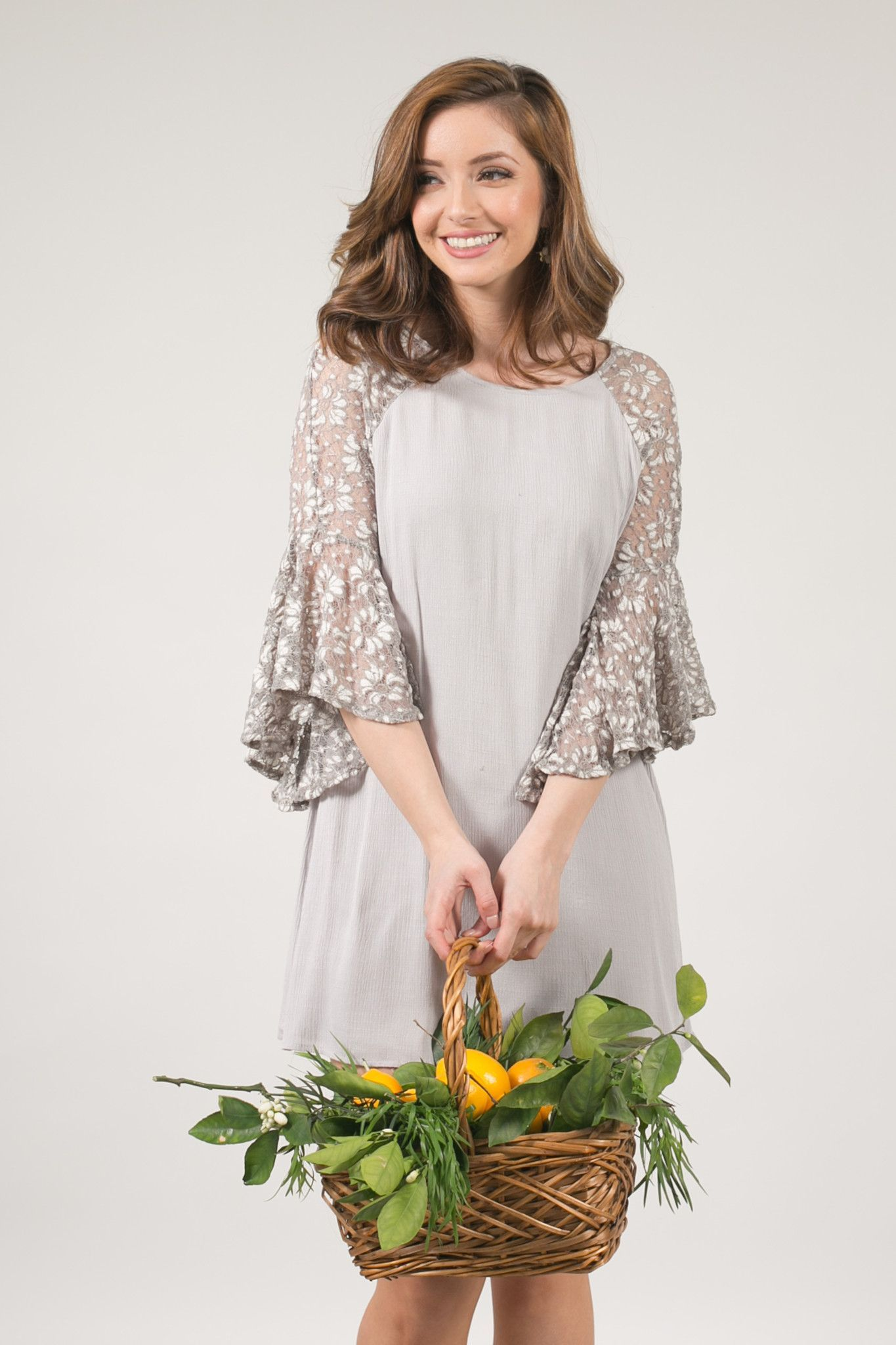 Abbey Gray Lace Bell Sleeve Shift Dress | Products | Pinterest ...