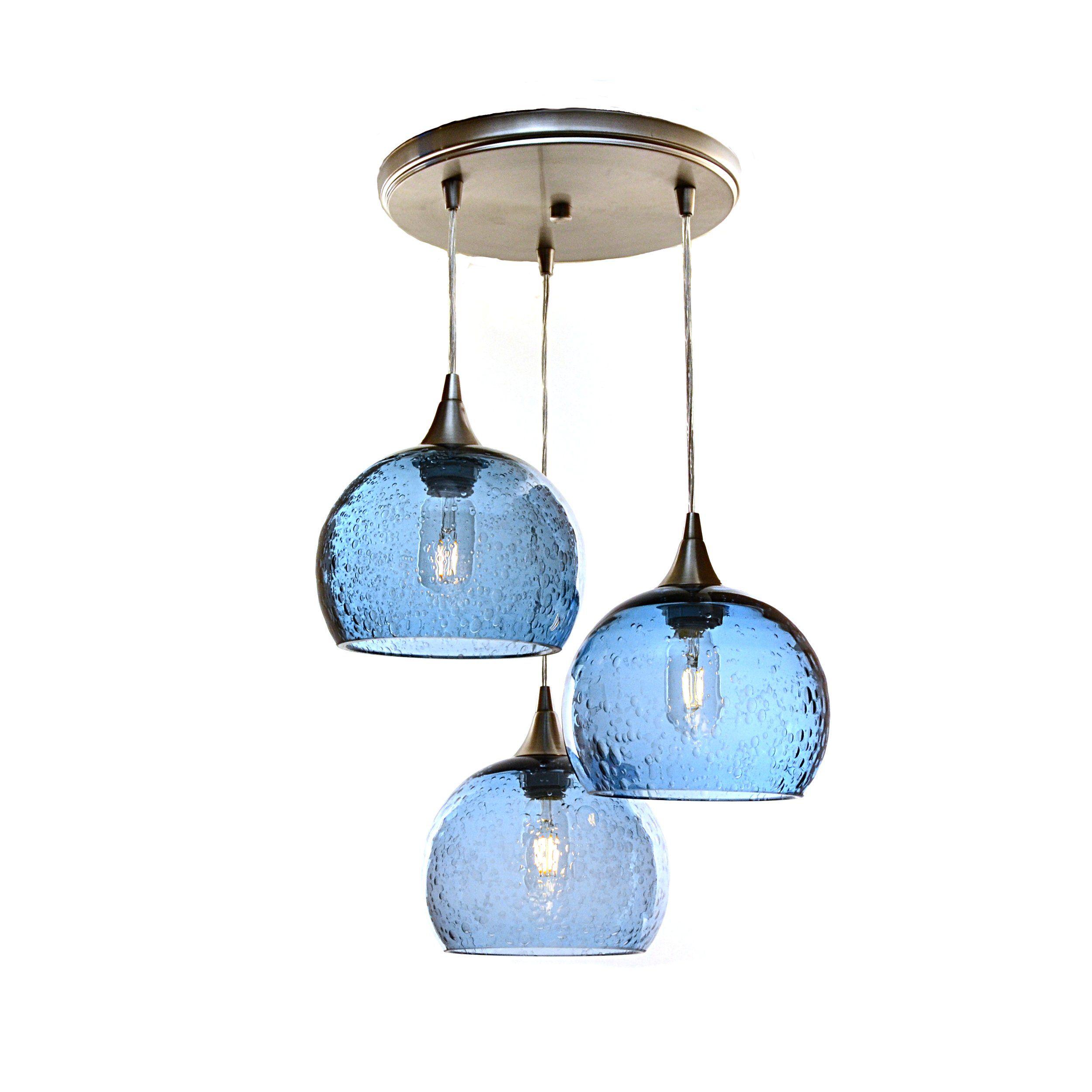 767 Lunar 3 Pendant Cascade Chandelier Glass Light Fixtures Glass Pendant Light Blue Pendant Light