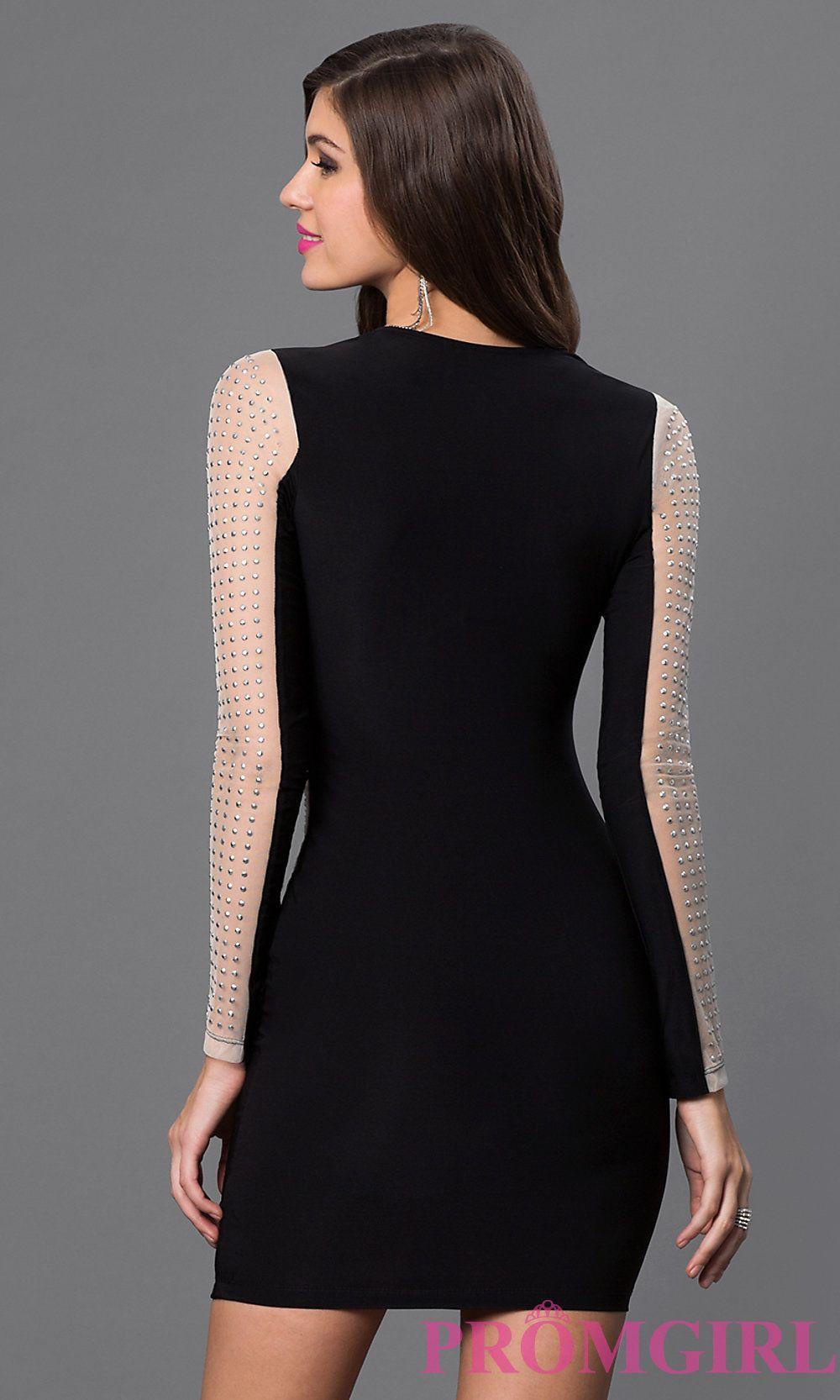 Image of short black long sleeve silver studded dress back image