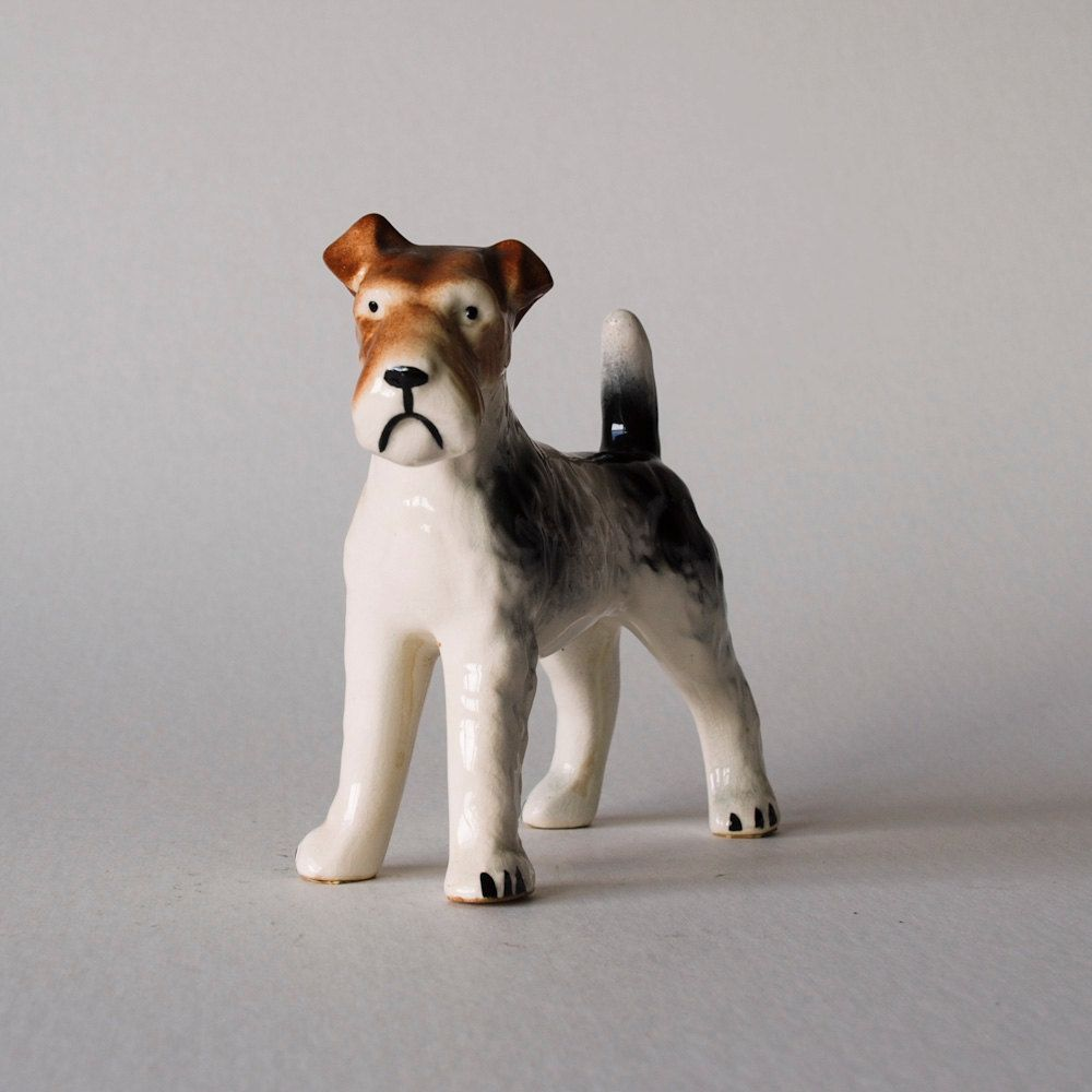 Vintage Ceramic Dog Figurine Tri-Colored Mournful Terrier | Just ...