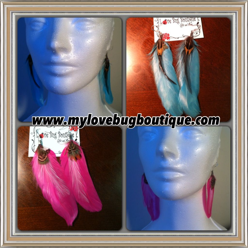Large Feather Earrings $8.00  www.mylovebugboutique.com  #handmadeearrings #jewelryaddict #handmade #feathers #earrings #blue #pink #wwwmylovebugboutiquecom