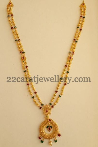 Small 22 Carat Gold Balls Simple Ruby Beads Emeralds Beads Combination 2 Layer Sho Gold Necklace Designs Gold Jewelry Fashion Gold Jewellery Design Necklaces