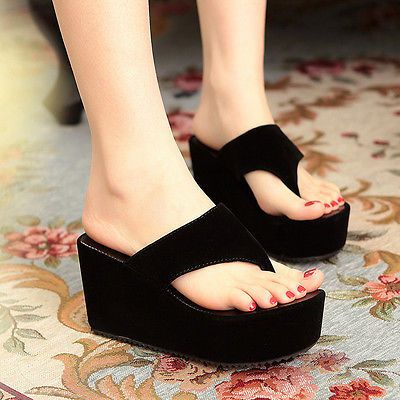 Womens Slip On Peep Toe Sandals High Wedge Heel Platform Creeper Shoes Summer SZ