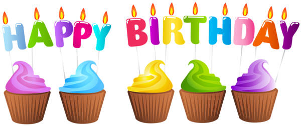 Happy Birthday Muffins Png Clip Art Image Cupcake Birthday Cake Happy Birthday Png Cupcake Candle