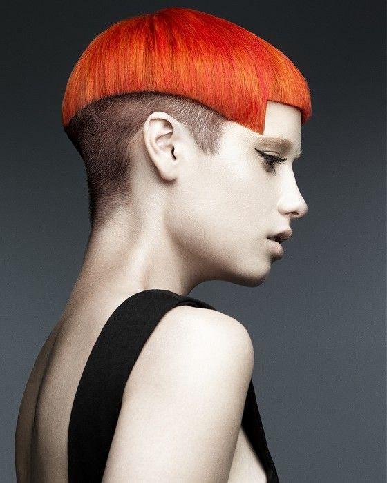 Short Red Straight Coloured Multi Tonal Avant Garde Mushroom Shaved Womens Haircut Hairstyles For Women