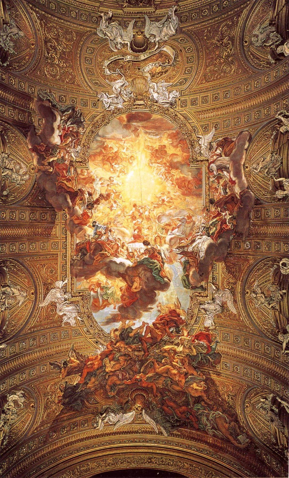 Baciccia Giovanni Batista Gaulli Triumph Of The Name Of Jesus 1676 1679 Fresco Ceiling Fresco In Il Gesu Rennaissance Art Classical Art Baroque Art