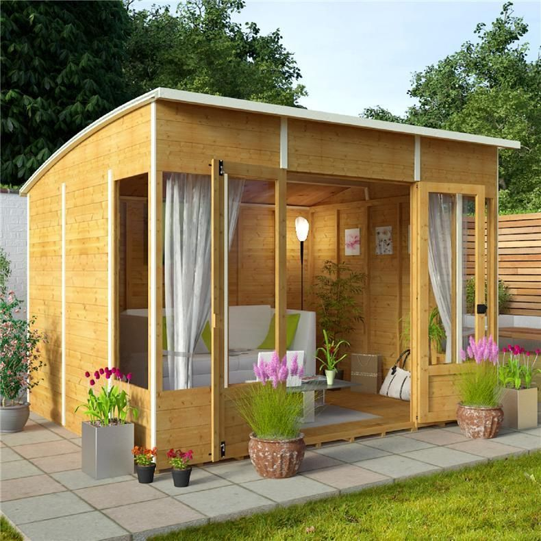 wooden corner summerhouse house outdoor garden shed office log cabin 10x8 ft - Corner Garden Sheds 7x7