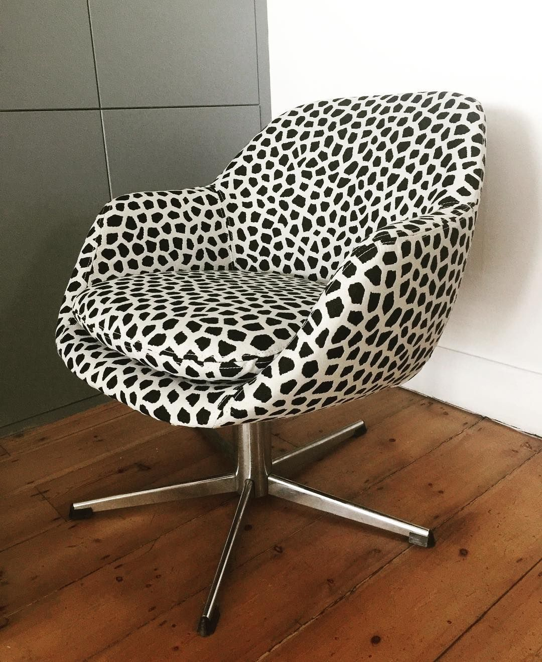 reupholstered desk chair in funky fabric great upholstery