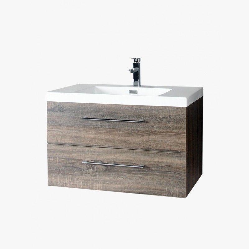 Aquasun meuble salle de bain 2 tiroirs 80cm