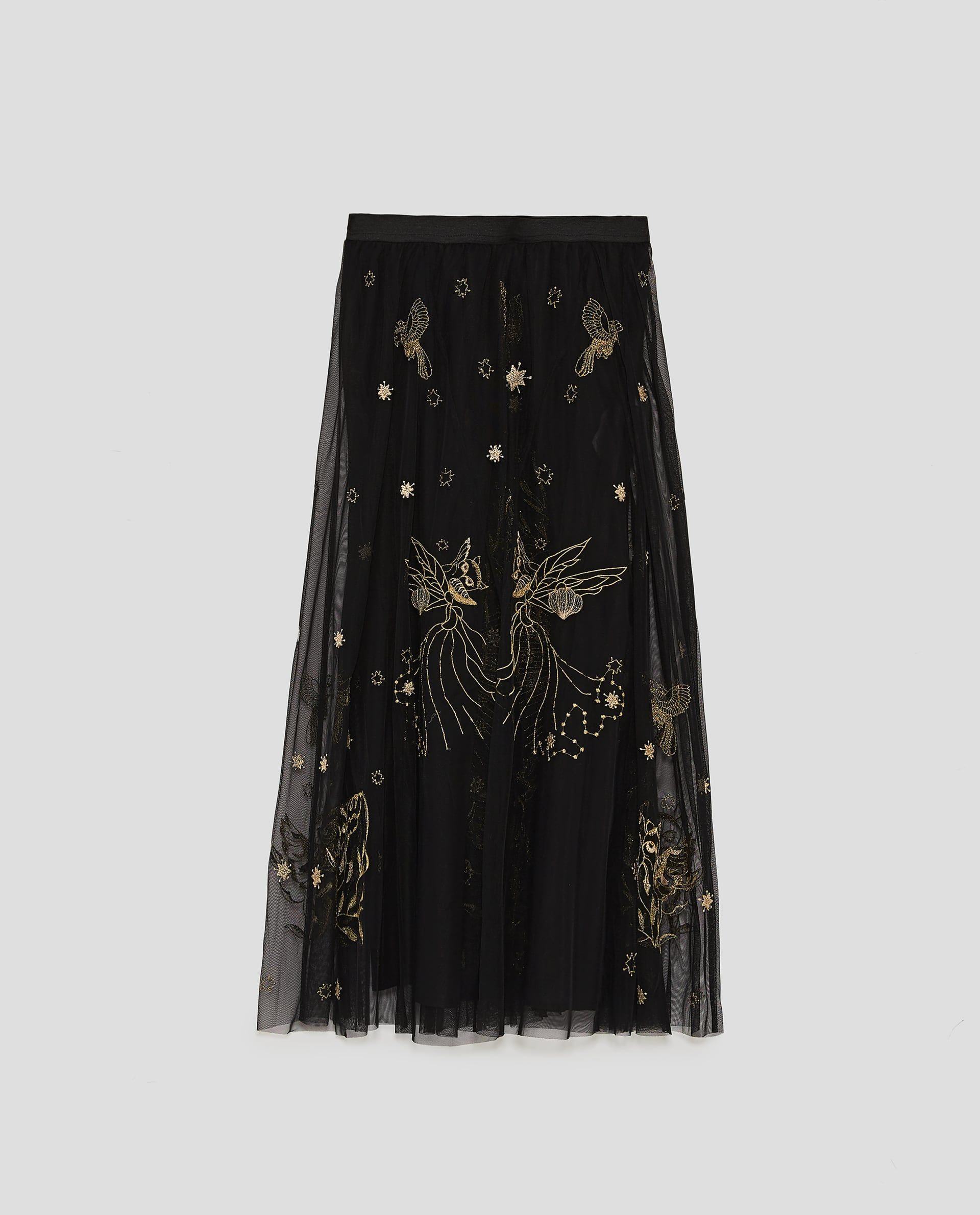 Image 8 Of Long Embroidered Tulle Skirt From Zara Elbise