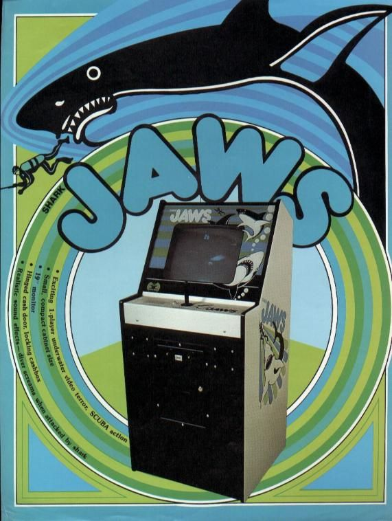 """Promo flyer for """"Shark Jaws,"""" a 1975 arcade game made by Atari under the guise """"Horror Games."""" Atari was afraid of being sued by Universal Pictures due to the similarity to the movie """"Jaws."""""""