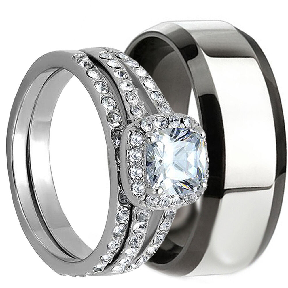 Click to find 100+ Wedding Ring Sets His And Hers of 3 PCS