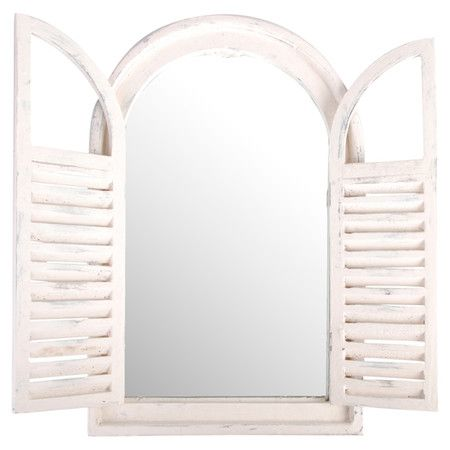 Showcasing louvered shutters and a distressed white finish, this eye-catching wall mirror adds a rustic touch to your master suite or entryway.