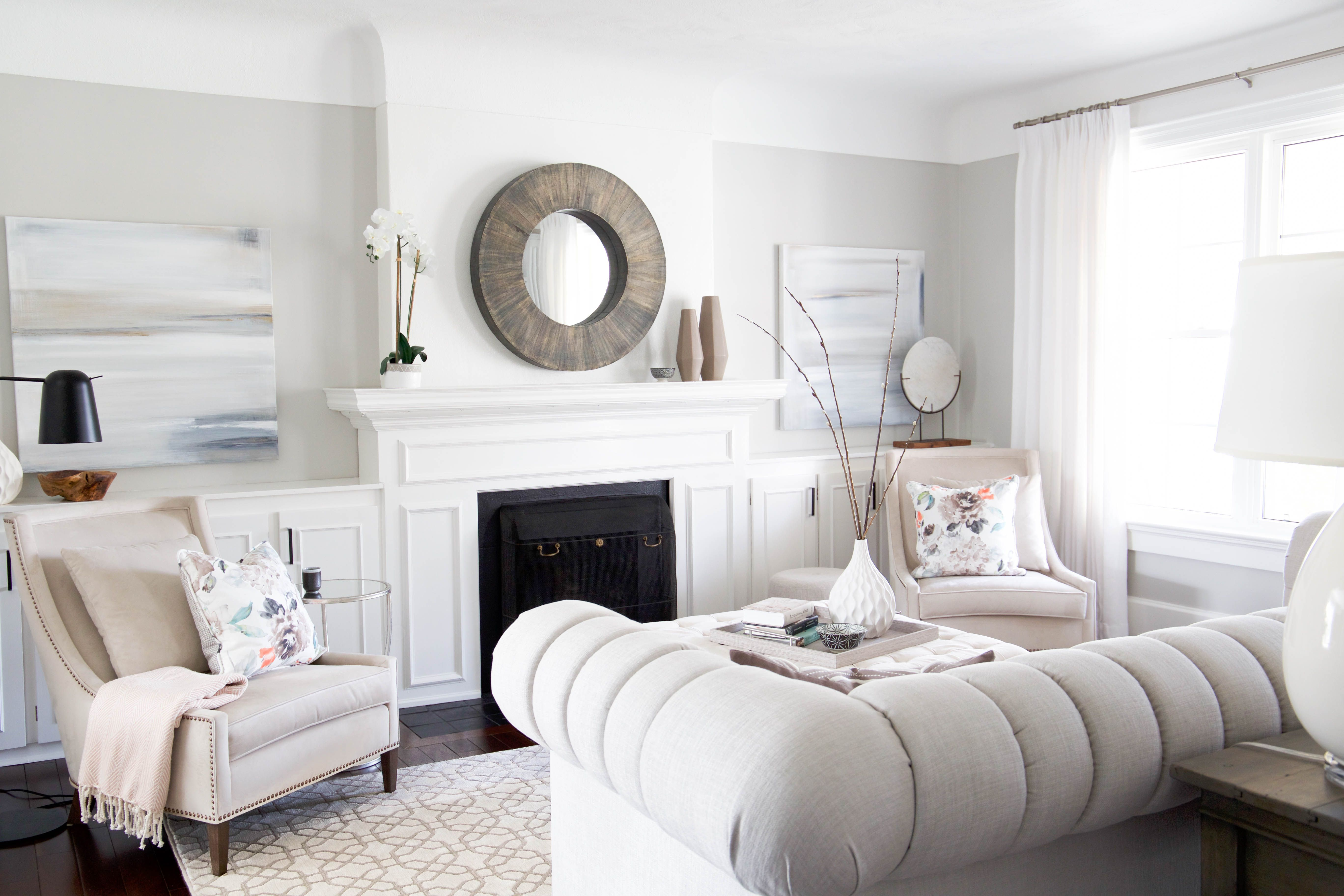 Beautiful And Bright Living Room Reveal With A Light Grey Sofa And Cream Arm Chairs We Chose A Large Sc Bright Living Room Living Room Reveal Light Gray Sofas