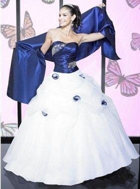 Ballkleid Brautkleid Adamine günstig Weiß / Blau Lang (mit ...