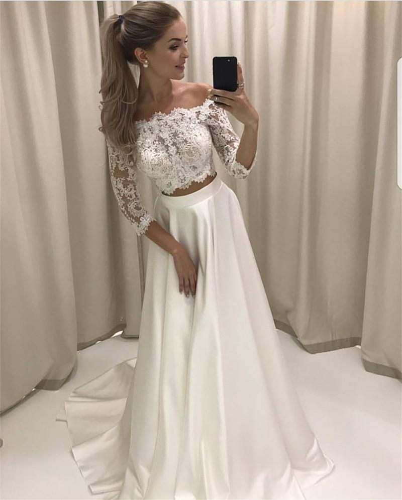 Simple Elegant Wedding Dress With Sleeves Woman And More: Boho Style Lace Sleeved Two Piece Wedding Dresses Beach