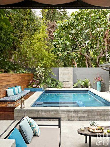 Check Out This Backyard Retreat in L A  is part of Small pool design, Backyard pool designs, Small backyard design, Small backyard pools, Swimming pools backyard, Small swimming pools - Inspired by their favorite Palm Springs resort, a Los Angeles couple transforms the spaces around their midcentury ranch for the ultimate retreat