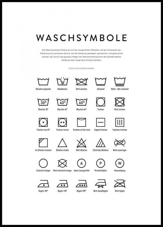 Washing Symbols Poster Waschsymbole Waschesymbole Waschanleitung