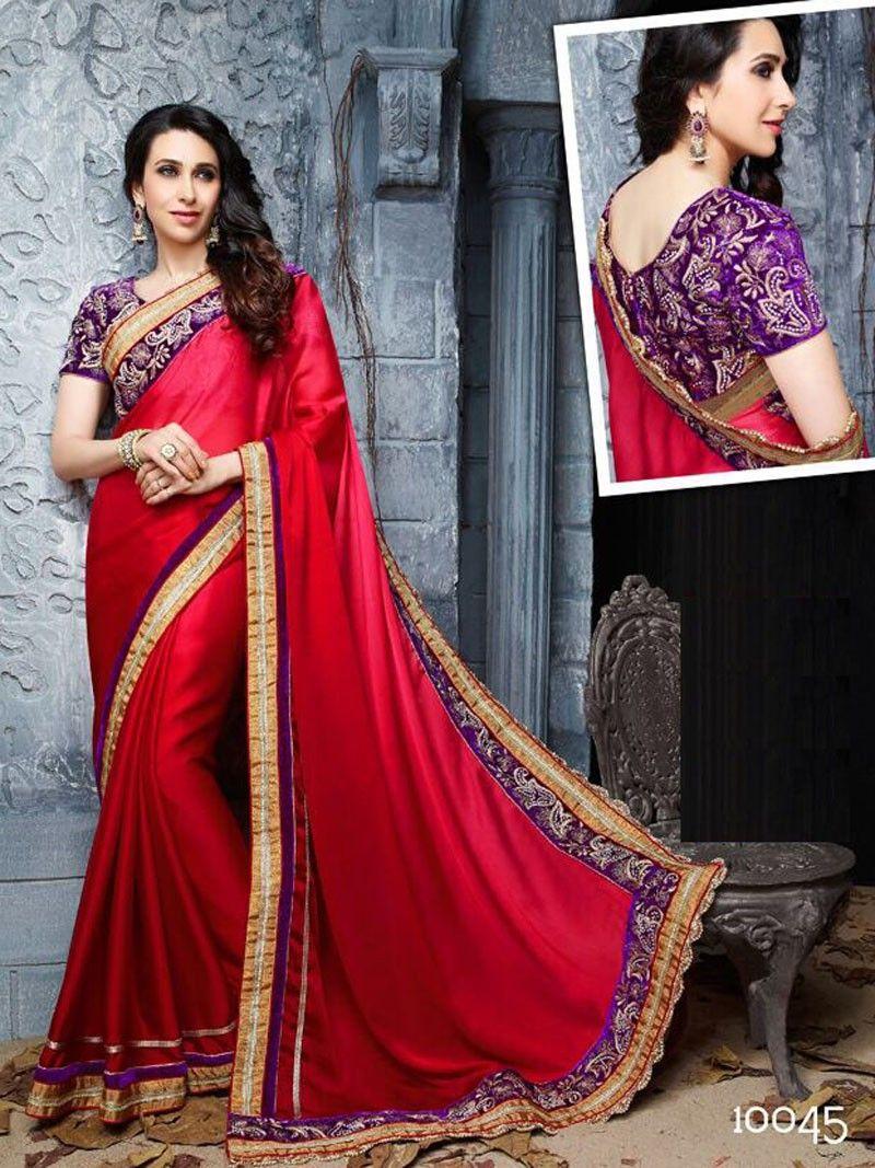 Red designer saree in satin designer saree pinterest saree