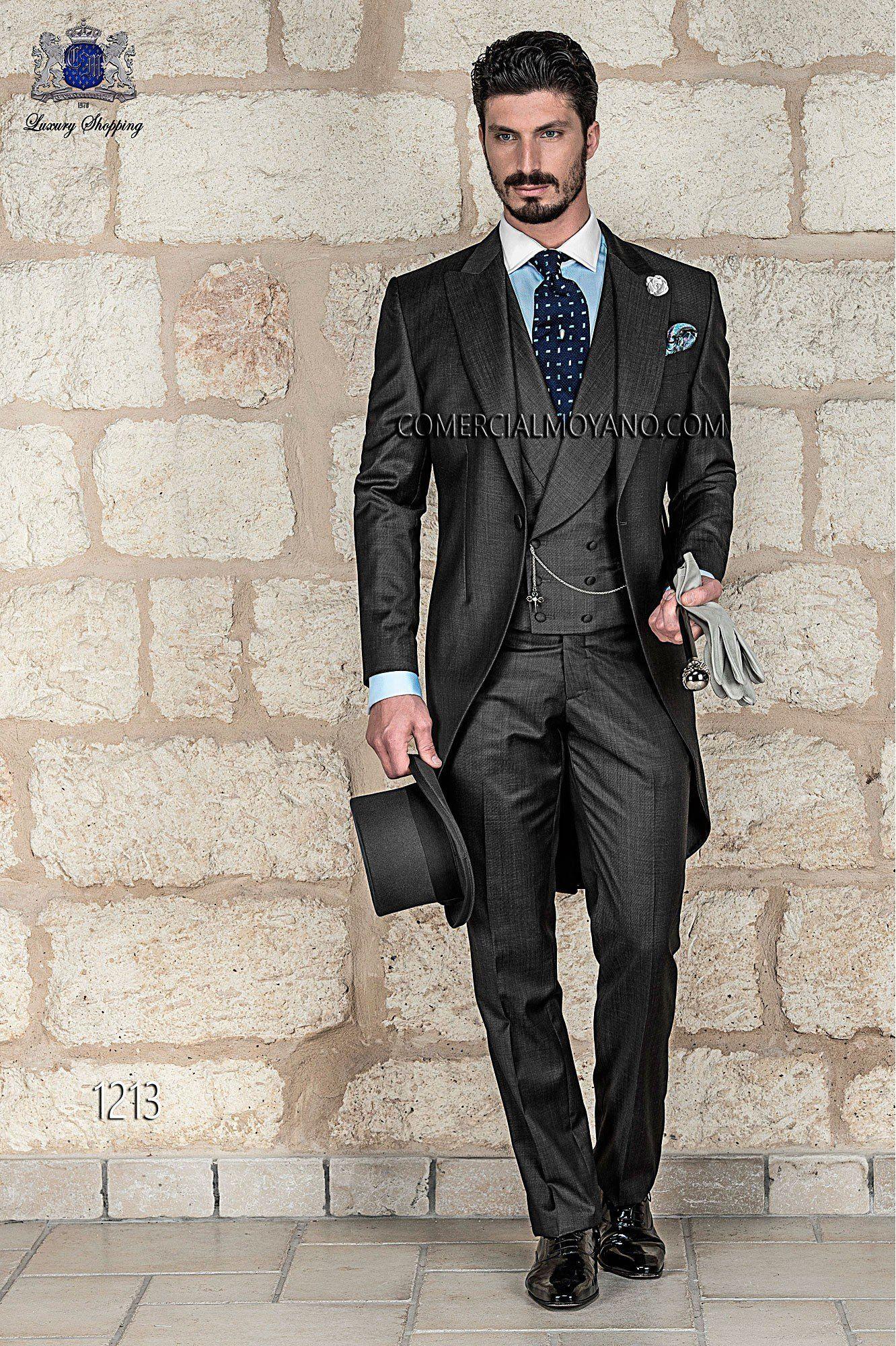 italian bespoke wedding morning suit, antracite grey fil a fil ...