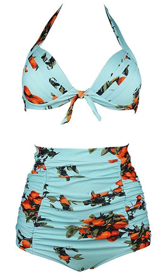 a3b8f9aeed Cocoship Turquoise   Orange Tangerine Fruit Vintage High Waisted Bikini  Ruched Swimsuits Two Piece Swimwear XL(FBA)