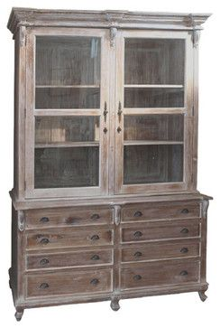 French Country Style Linen Press Cabinet 8 Foot Tall Farmhouse China Cabinets And Hutches