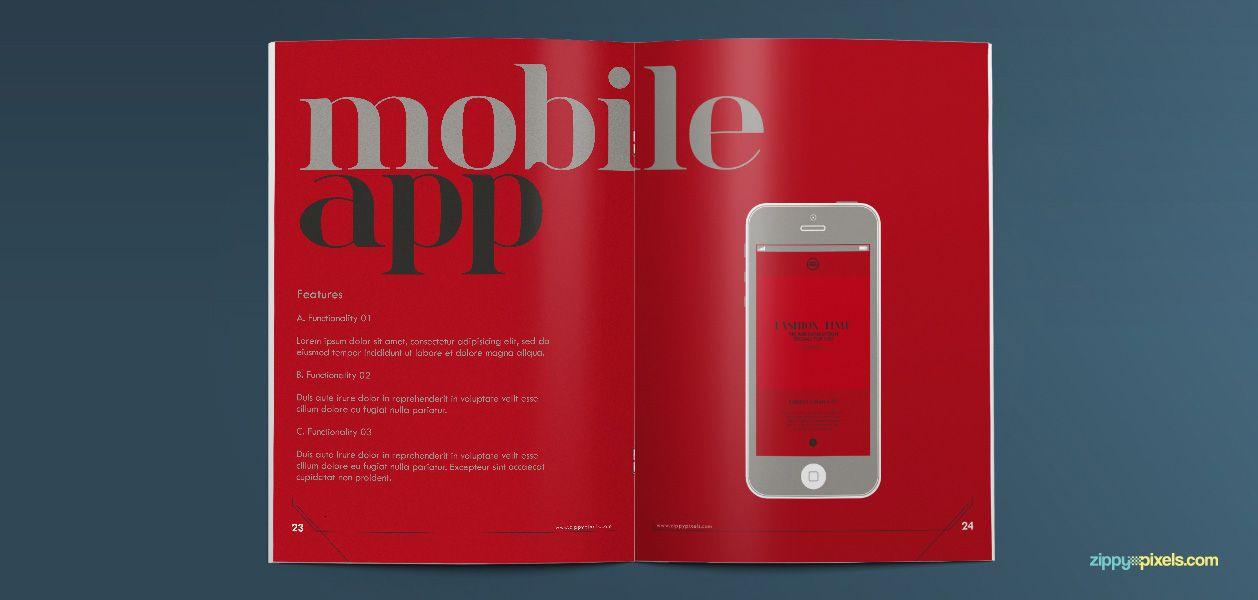 Mobile App - Typographic Art Brand Book Template   ZippyPixels