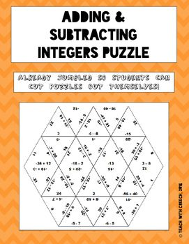 Add And Subtract Integers Puzzle Math Game Operations With Adding And Subtracting Integers Activity Add And Subtract Integers Puzzle Math Game Operations With Integers