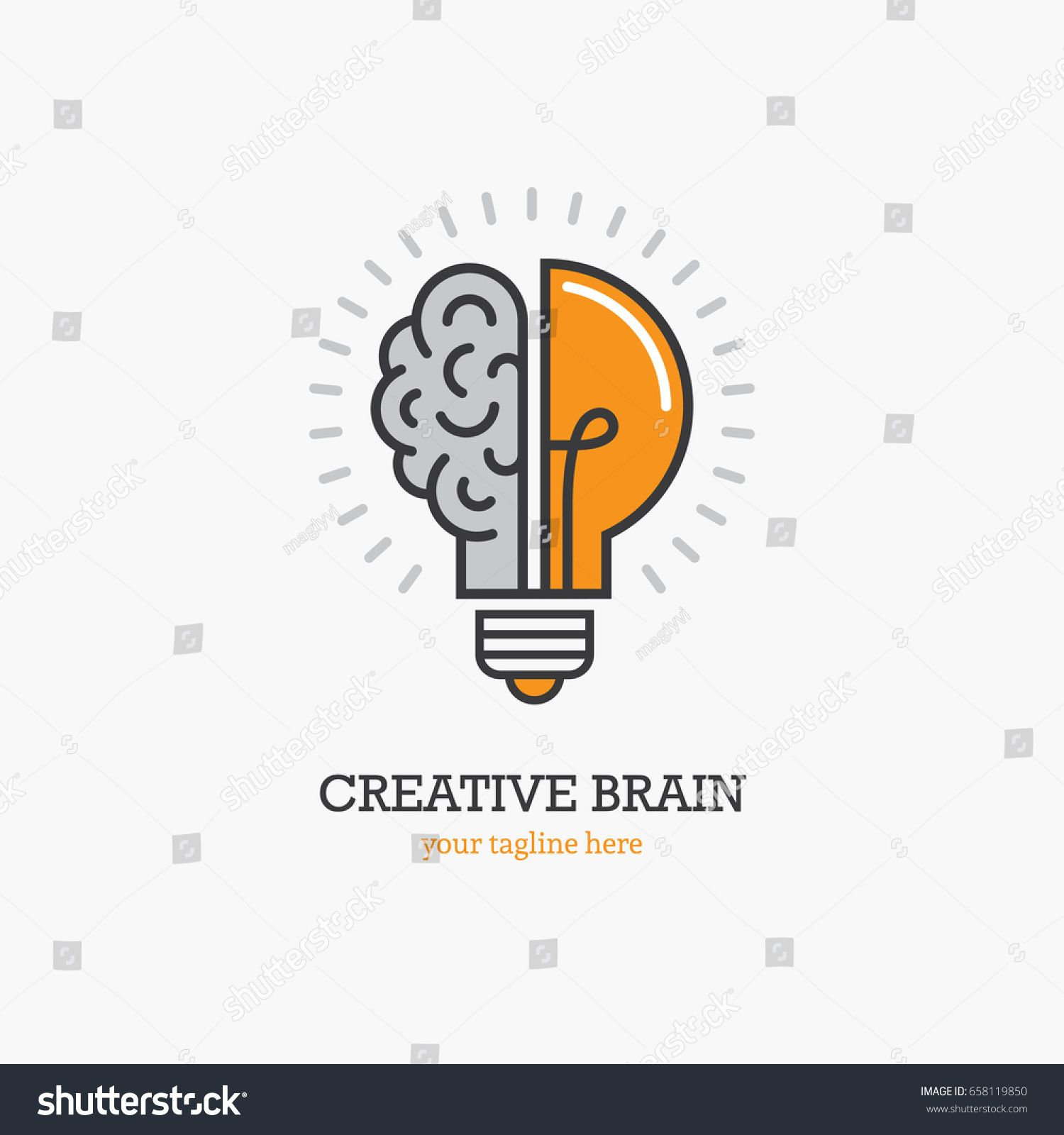 Logo With A Half Of Light Bulb And Brain Isolated On White Background Symbol Of Creativity Creative Idea Mind Thinking Com Imagens Logos