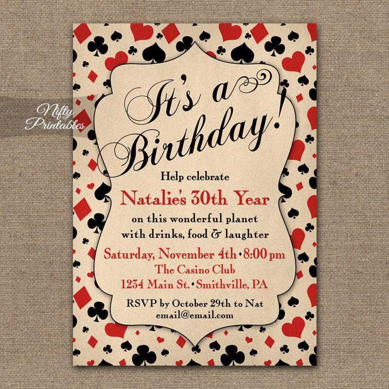 Casino Birthday Invitations - Vintage Printable Poker 21st 30th ...