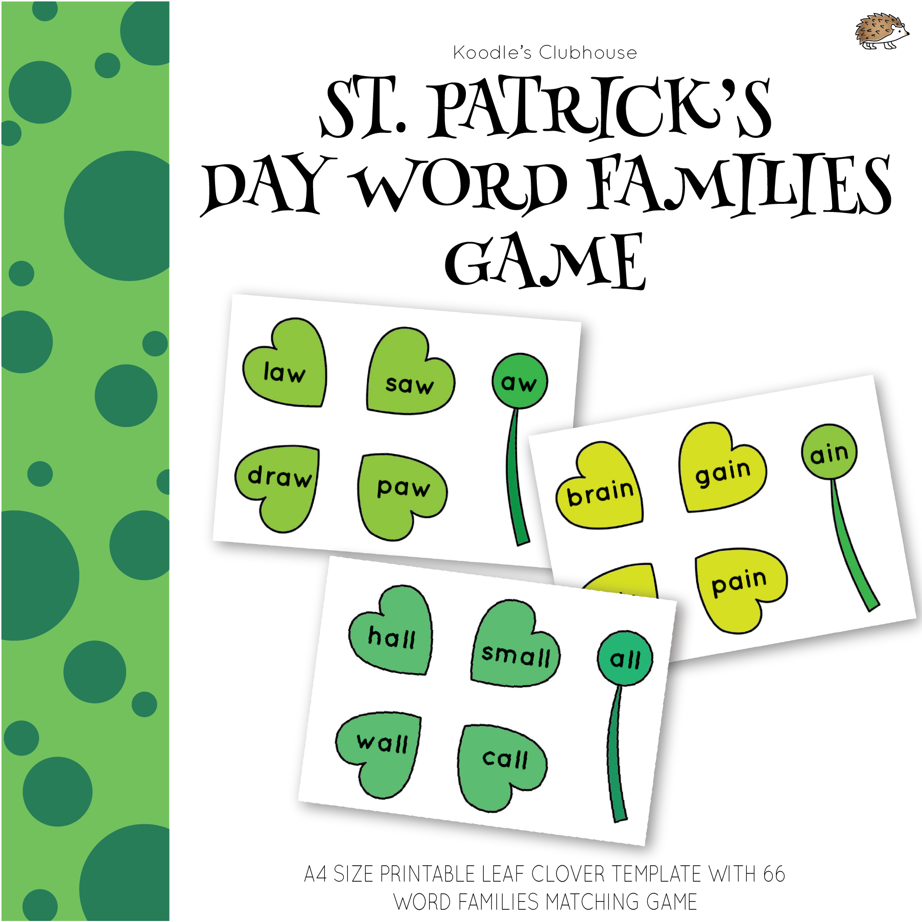 St Patrick S Day Leaf Clover Word Family Game From Koodle