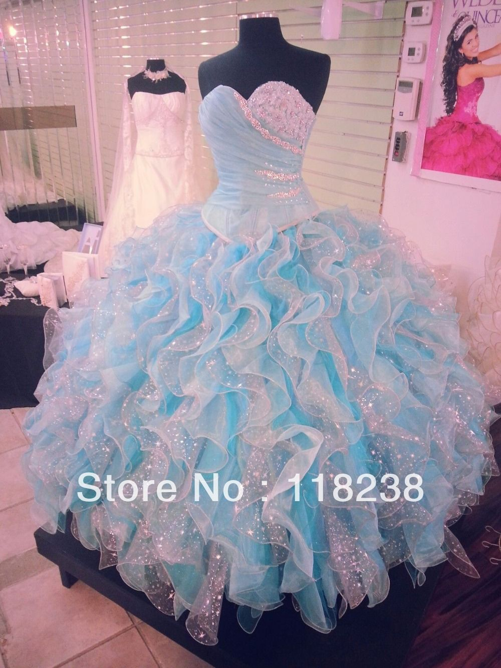 White and baby blue sequins applique organza ruffles new 2014 ...