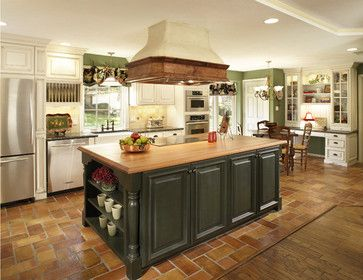 Kitchen With Saltillo Tile White Cabinets Accent Color On Island