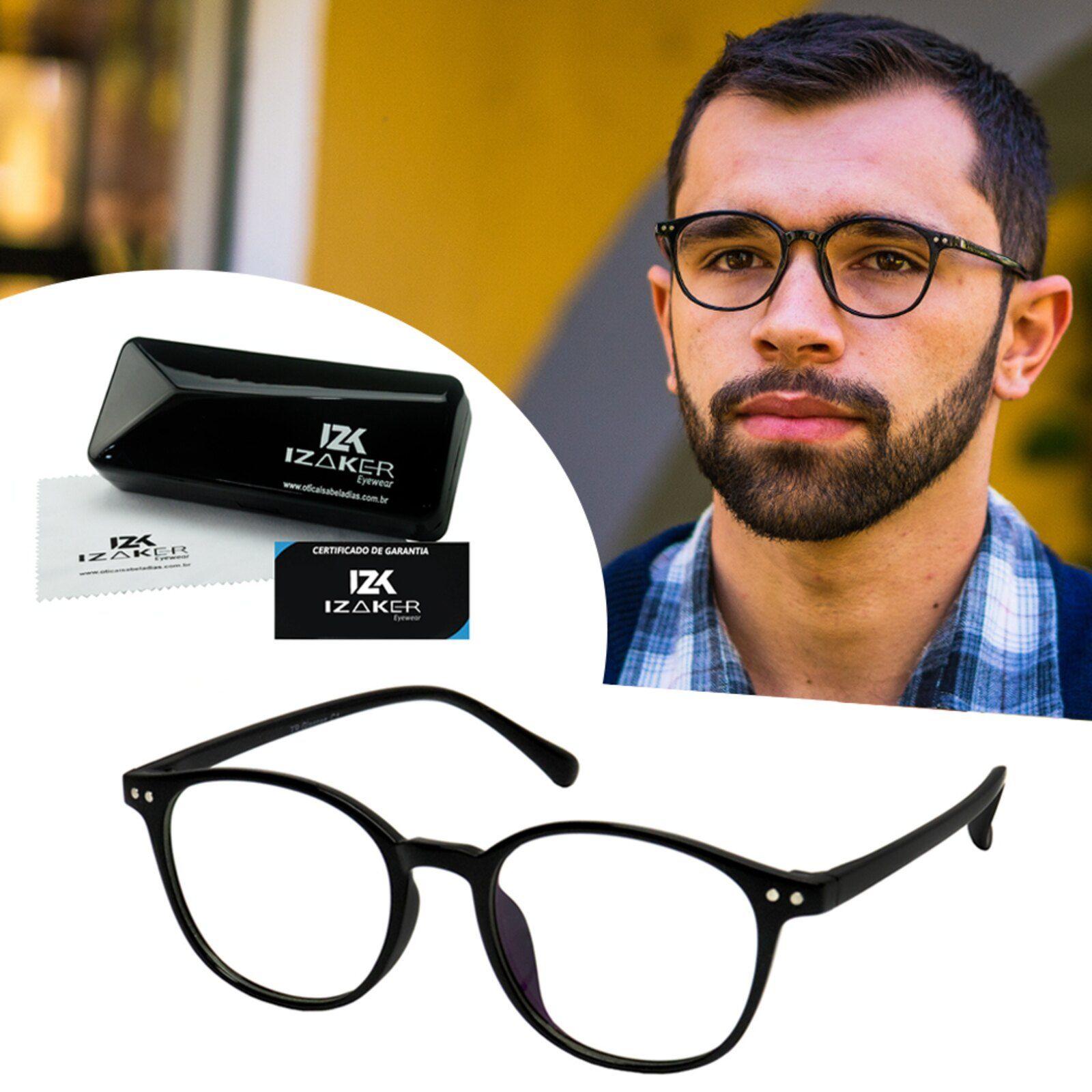 Oculos Armacao Grau Masculino Izaker Redondo Retro Vintage Acetato
