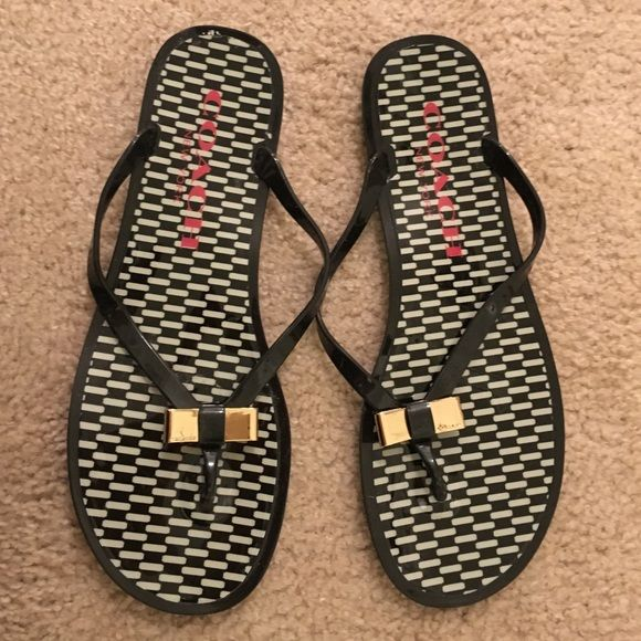 12d8719addb2 Coach flip flops COACH - Black and white checked