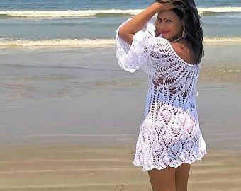 Sexy Crochet Beach Dress Handmade Cover Up Bikini Swimsuit Summer Beachwear Mandala Granny Squares Hippie Boho Gypsy Carnaby Bohemian Dress #crochetbeachdress