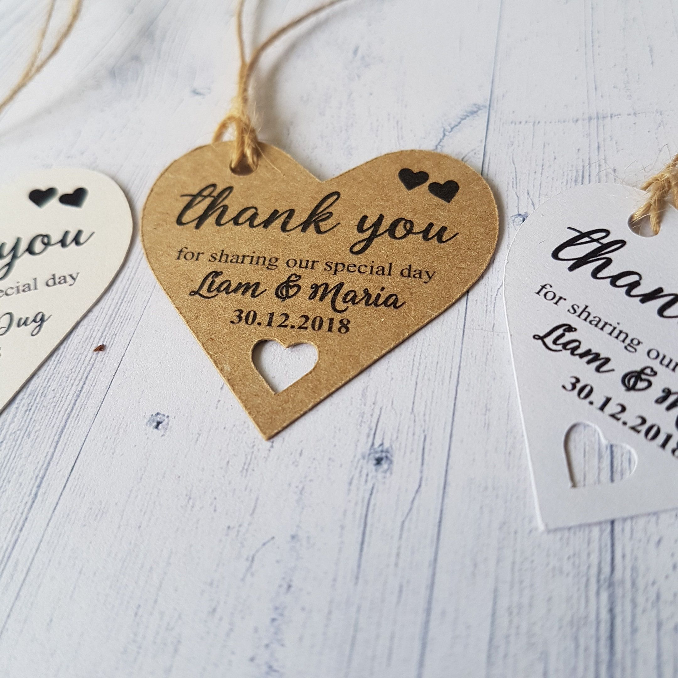 Cute Heart Shaped Tags for Wedding Favors, Tags with String ...