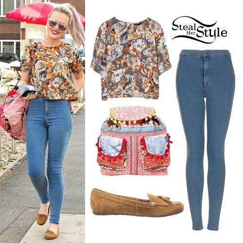Perrie Edwards: Floral Tee, Blue Skinny Jeans | Steal Her Style