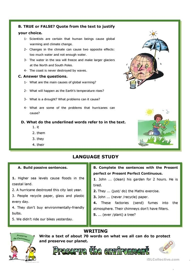 Climate Change Calamities Worksheet Free Esl Printable Worksheets Made By Teachers In 2020 Climate Change Reading Comprehension Climates
