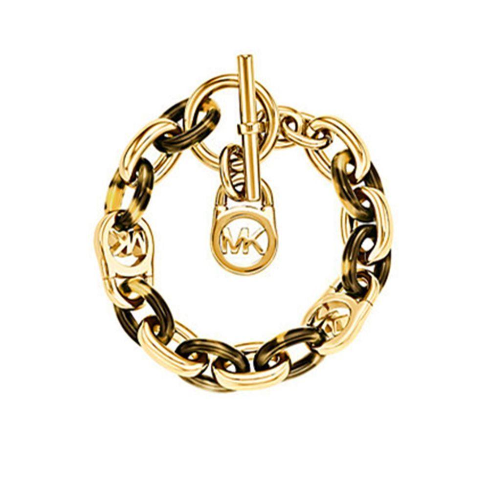 e3e52f6e98d07 Tortoise Shell Gold Plated Metal Link Bracelet 8.5