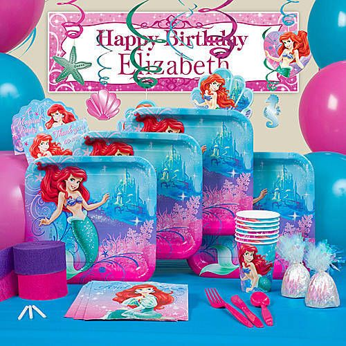 The little mermaid sparkle party supplies feature ariel for Ariel decoration party