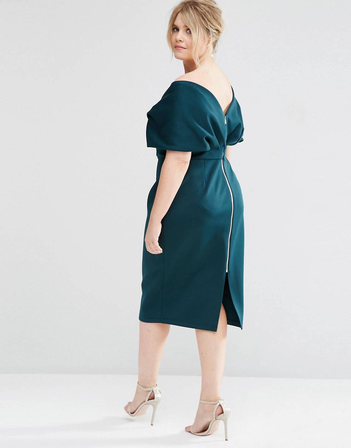 Asos Curve Premium Fold Cape Midi Bodycon Dress In Scuba At Asos Com Plus Size Dresses Big Size Dress Plus Size Party Dresses [ 1436 x 1125 Pixel ]